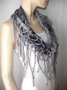 shredded braided fringed tshirt scarf  by JohnnyVegasOriginals