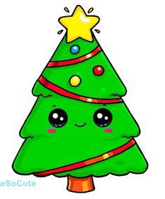 New Kawaii Christmas Tree Drawing Ideas Kawaii Girl Drawings, Cute Food Drawings, Disney Drawings, Cartoon Drawings, Cool Drawings, Easy Christmas Drawings, Christmas Doodles, Christmas Pictures, Christmas Art