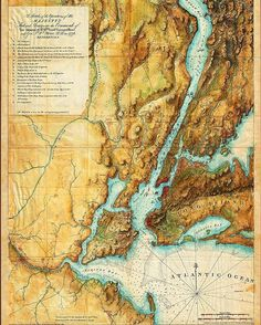@amapaday | This visually stunning map, depicting the British operations around New York City during the Campaign of 1776, was originally issued in January, 1777, in London, by Joseph Frederick Wallet Des Barres. The map has amazing topographic detail and soundings of the harbor and the Hudson River. This particular issue was prepared for the 1864 edition of Valentine's Manual of Old New York; includes a detailed table of references.