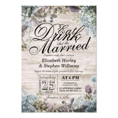 EAT Drink & Be Married Wedding Floral Rustic Wood Card - rustic gifts ideas customize personalize