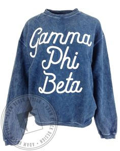 Gamma Phi Beta Script Corded Crewneck by Adam Block Design | Custom Greek Apparel & Sorority Clothes | www.adamblockdesign.com