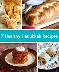 7 Healthier Hanukkah Recipes: Curry Vegetables Latkes Crock Pot Applesauce Baked Jelly Doughnuts Gluten-Free Chicken Schnitzel Whole Wheat Challah Noodle Kugel Rugelach Cookies #hanukkah