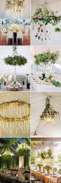 green wedding decor ideas- Chandelier with Greenery