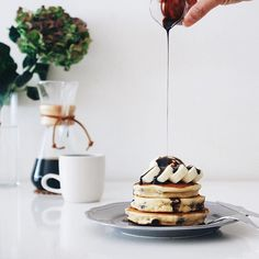 : Late lunch. Chocolate chips pancake topping with vanilla ice cream + fresh banana + chocolate sauce :-) Have a nice weekend! : : #darlingweekend