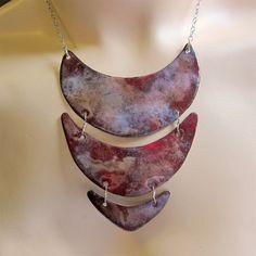 Breastplate Enamel Necklace, Enamel Jewelry, Statement Necklace, Art Deco Jewelry.