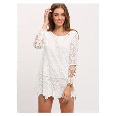 White Long Sleeve Crochet Lace Dress (28 BAM) via Polyvore featuring dresses, white long sleeve dress, longsleeve dress, white day dress, white long-sleeve dresses and white dress