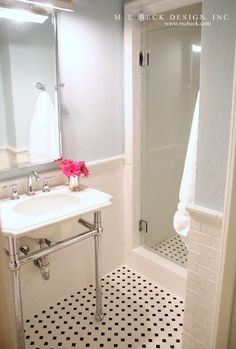 Live Beautifully Tiny Bath remodel. Love the tile.