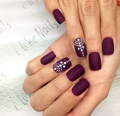 ideas nails matte sparkle simple for 2019 Coffin Nails Matte, Shellac Nails, Nail Manicure, Diy Nails, Acrylic Nails, Plum Nails, Henna Nails, Dot Nail Designs, Simple Nail Designs