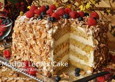 Muchas Leches Cake with Sugared Almonds THIS IS A WONDERFUL CAKE FOR THAT SPECIAL OCCASION. EVERYONE WILL BE AMAZED AT ALL THE WORK THAT IT WILL TAKE TO MAKE IT. BUT IT WILL BE WORTH IT. TRY IT TODAY AND SEE...ENJOY