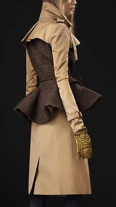 Burberry - WOOL PEPLUM TRENCH COAT