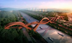 Eye-Catching Bridge with Three Undulating Roads in China - My Modern Metropolis.  An international competition was held to design an innovative, new pedestrian bridge that would span the length of the Dragon King Harbor River. The winning proposal was a stunning concept that rises and falls and ultimately loops back to itself, creating a seemingly endless structure, submitted by Beijing and Amsterdam-based firm NEXT Architects.