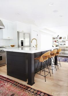 //black kitchen island