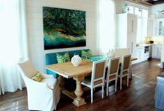 You can go ahead and file this under my list of favorites! The stunning WaterColor, Florida beach house was designed by Emerald Coast interior designer Cara McBroom who filled the family getaway wi… Coastal Farmhouse, Modern Coastal, Coastal Cottage, Coastal Homes, Coastal Decor, Coastal Rugs, Coastal Lighting, Coastal Style, Coastal Bathrooms