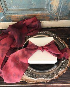 Marbled cheery bordo Silk Ribbon Hand Dyed by WeddingGalleryDesign