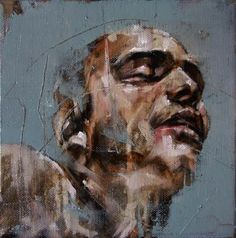 Guy Denning ~ Every brush stroke, each apparent haphazard throw of paint is measured and purposeful.  The paintings are visceral and earthy in their base colour palette. Crusted impastos are part lost in baths of delicate rose and warm brown glazes. The drips occasionally run upwards or sideways betraying the lie of Dennings' often stated 'lucky accident'....