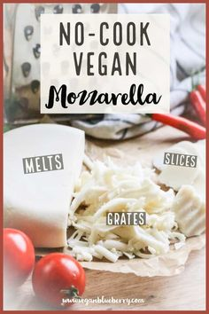 Make your own UNBELIEVABLE vegan mozzarella in a blender with this quick and easy vegan cheese recipe! It slices, melts and shreds! A Super Simple and Tasty Vegan Mozzarella Cheese that will slice, shred, melt, and blow your mind! Vegan Foods, Vegan Snacks, Vegan Dishes, Vegan Meals, Vegan Desserts, Easy Vegan Cheese Recipe, Dairy Free Cheese, Vegan Cheese Substitute, Dairy Free Pizza