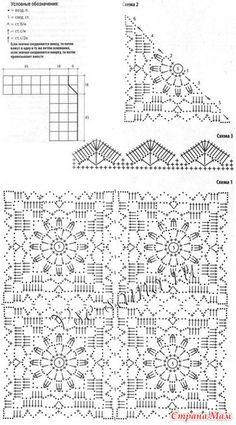 Sweaters and crochet jackets for spring 28 1 – Artofit Crochet Baby Dress Pattern, Crochet Square Patterns, Crochet Motifs, Crochet Diagram, Crochet Chart, Crochet Squares, Thread Crochet, Crochet Blanket Patterns, Crochet Designs
