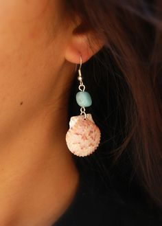 Scallop Shell Dangle Earrings with Natural Blue Stone Bead, Shell Jewelry, Shell Earrings, Seashell, Hawaii Shell. $6.00, via Etsy.