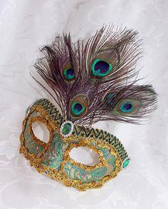 Green Brocade Mardi Gras Mask by DaraGallery.deviantart.com on @DeviantArt