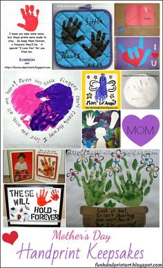 Fun list of creative gift ideas and Mother's Day Handprint Keepsakes for kids to make for or with Mom. Including: poems, hearts, canvas, potholder & more! Baby Crafts, Toddler Crafts, Crafts To Do, Preschool Crafts, Crafts For Kids, Toddler Fun, Mother Poems, Mothers Day Poems, Mothers Day Cards
