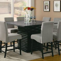 Contemporary Counter Height Black Dining Table Chairs Dining Room Furniture Set | eBay