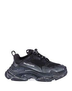 low priced 5d231 b062c Balenciaga Triple S Men s Tonal Mesh   Leather Sneakers, All Black