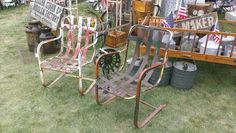 Two distressed metal lawn chairs. Photo taken by OldHouseChic.