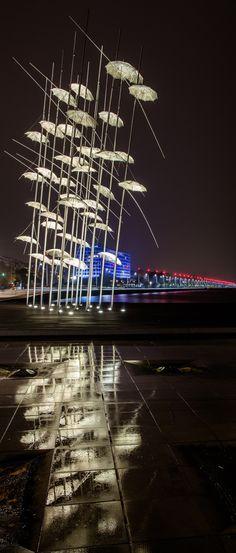 Thessaloniki Greece - G. Zogopoulos - Umbrellas - #greece #travel #traveller #travelling #traveling #tourism #tourist #landscape #landscapes #photography #photographer #night #sea #sky #stylianosphotography #mist #misty #night #nightphotography #macedonia #thessaloniki #thessalonikiport #cityshapes #cityceen