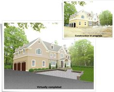 This home was under construction in Wilton, CT. By virtually completing the construction and landscaping, the builder and realtor were able to move forward with all their marketing plans! Virtually completed by GMB Designs. To Move Forward, Marketing Plan, Under Construction, Home Staging, Landscaping, How To Plan, Mansions, House Styles, Design