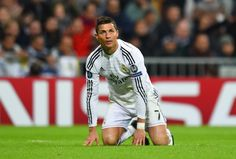 Cristiano Ronaldo of Real Madrid CF reacts during the UEFA Champions League Group B match between Real Madrid CF and Liverpool FC at Estadio Santiago Bernabeu on November 4, 2014 in Madrid, Spain.