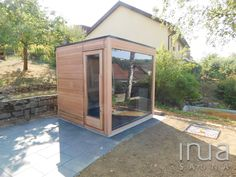 - Unique outdoor sauna made of Canadian red cedar with panoramic insulated glass front. Outdoor Sauna, Saunas, Red Cedar, Shed, Backyard, Outdoor Structures, Beach, Glass, Unique