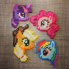 My Little Pony (Twilight Sparkle, Pinkie Pie, Applejack and Rainbow Dash) perler beads by yalley9