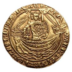 Medieval English Gold Noble Coin of King Edward III, 1369 AD | From a unique collection of antique and modern historical memorabilia at https://www.1stdibs.com/furniture/more-furniture-collectibles/historical-memorabilia/