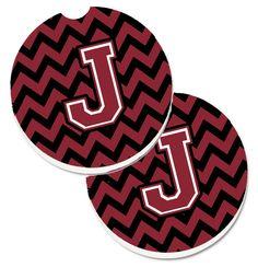 Letter J Chevron Garnet and Black Set of 2 Cup Holder Car Coasters CJ1052-JCARC