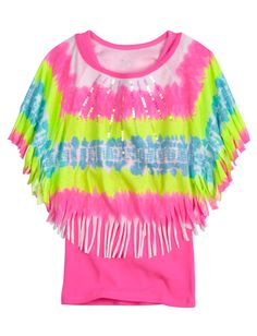 Girls Clothing | Short Sleeve | Dye Effect Circle Top 2fer | Shop Justice Soo cute! My friend Ally has this  @Ally Barnes.