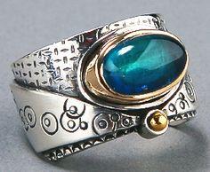 Stamped texture tourmaline ring.