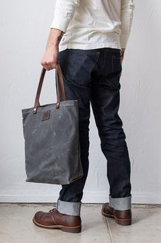 Bradley Mountain Waxed Canvas Tote Bag Charcoal #madeinusa #canvasbag #tote