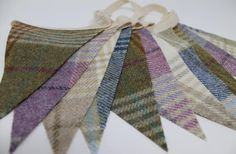 This beautiful handmade tweed fabric bunting is made with gorgeous wool Abraham Moon tweed, using cream, lilac, blue and green tweed. The bunting is available in 3 lengths: * metres / 2 with flags on and to tie at each end - 12 flags * metres / 6 with Blue Bunting, Nursery Bunting, Fabric Bunting, Pennant Flags, Bunting Banner, Jewellery Boxes, Wooden Jewelry Boxes, Pennant Template, Tartan Material