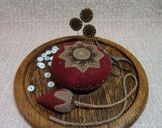 Wool Applique Strawberry Emery Fob