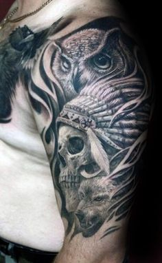 owl-with- indian- skull-male-half-sleeve-tattoo