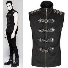 Black Sleeveless Gothic Steam Punk Fashion Casual Shirts for Men SKU-11407420