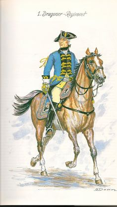 Prussia; Dragoon regiment Nr.1, Officer, c.1750 by G.Donn