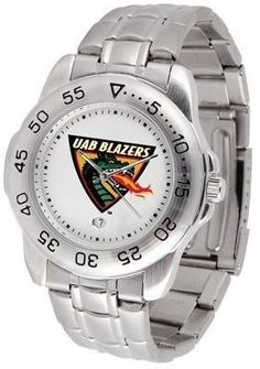 UAB Blazers Men's Stainless Steel Logo Watch by SunTime. $54.95. Calendar Function With Rotating Bezel. Officially Licensed Alabama Birmingham Blazers Men's Stainless Steel Logo Watch. Links Make Watch Adjustable. Men. Stainless Steel-Scratch Resistant Crystal. UAB Blazers men's watch. This Blazers logo dress watch with a stainless steel link bracelet. A date calendar function plus a rotating bezel/timer circles the scratch resistant crystal. Sport the bold, colorful...