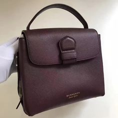 Burberry Small Grainy Leather and House Check Tote Bag Mahogany Red 2017