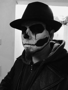 Skeleton makeup for men. Black and White filter. Pretty cool.