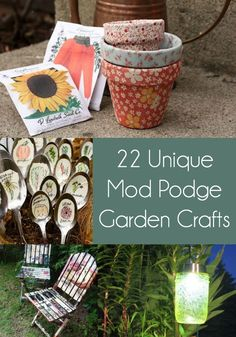 Get inspired to decorate your outdoor space with these 20+ unique garden crafts! You'll love the variety of DIY garden decor you can create, from markers to pots to furniture. Perfect for summer - options for kids and for adults! Make them for yourself or to sell. via @modpodgerocks Diy And Crafts Sewing, Arts And Crafts Projects, Diy Crafts Videos, Felt Projects, Upcycled Crafts, Crafts For Teens To Make, Crafts To Sell, Fun Crafts, Arts And Crafts For Adults