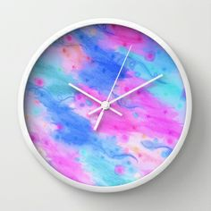 SEEING STARS 1 - Sweet Light Turquoise Baby Cerulean Pale Royal Blue Soft Raspberry Pink Strawberry Pretty Girlie Feminine Starry Sky Cosmic Galaxy Pattern Water Waves Swirls Abstract Watercolor Decorative Fine Art Painting Lovely Elegant Nursery Baby Room Style Restful Sleepy Pattern Home Decor Wall Clock by EbiEmporium - $30.00