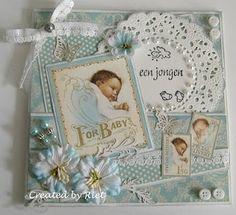 Graphic 45 Little Darlings Baby Boy Cards, New Baby Cards, Baby Shower Cards, Graphic 45, Baby Scrapbook, Scrapbook Cards, Baby Mini Album, Baby Barn, Marianne Design