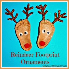 Messy Little Monster: Reindeer salt dough footprint ornaments. Christmas crafts for kids, babies, toddlers, preschoolers, early years, eyfs.