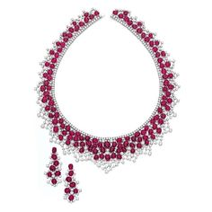 Burmese Ruby and Diamond Necklace and Earrings